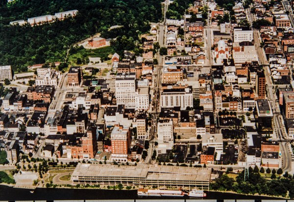 During the 1980s the Wheeling Wharf Parking Garage was situated in the same area where Heritage Port is located today.