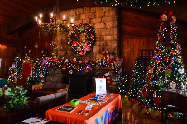 Oglebay's Wilson Lodge has been decorated for the thousands of holiday tourists that visit the municipal park each year.