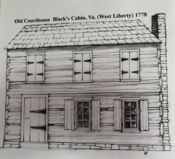 A drawing of the way the courthouse looked not long after construction.