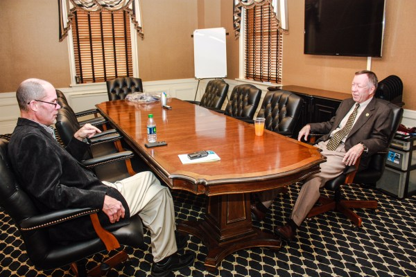 Novotney met with the interim president on the hilltop campus of West Liberty University.