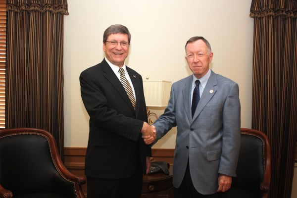 West Liberty University new president Stephen Greiner met with Dr. McCollough shortly after being named.