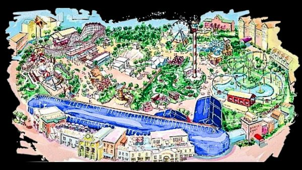 An artist's rendering of a three-section theme park proposed for The Highlands.