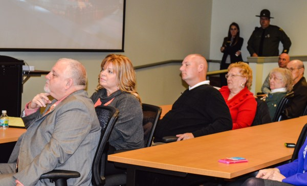 """Council members (from left) Don Atkinson (with his wife, Gail, seated next to him), Ken Imer, Gloria Delbrugge, and Robert """"Herk"""" Henry attended The Health Plan's press conference in the Stone Center."""