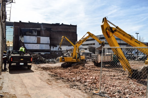 The demolition of four buildings has taken place on the corner of 12th and Main streets the past two weeks.