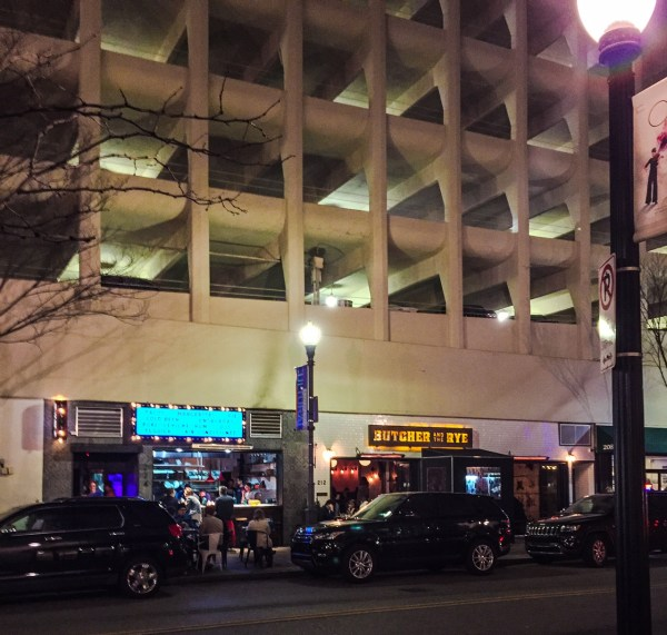This parking garage is located on the corner of 6th Street and Liberty Avenue in downtown Pittsburgh and several eateries, a wine store, a cobbler, and a CVS Pharmacy are located on the street level.