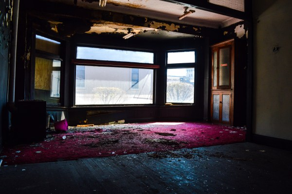 What will become the living room area on the second floor is not sloping downward because of water damage.