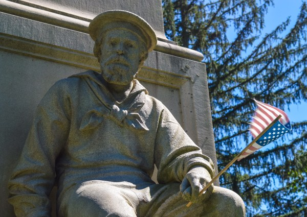 When place at Wheeling Park the statue was not reassembled correctly.