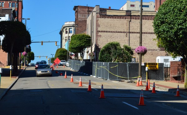 Main Street has been reduced to one lane for more than a week as excavation work has started for the construction of the new Health Plan headquarters.