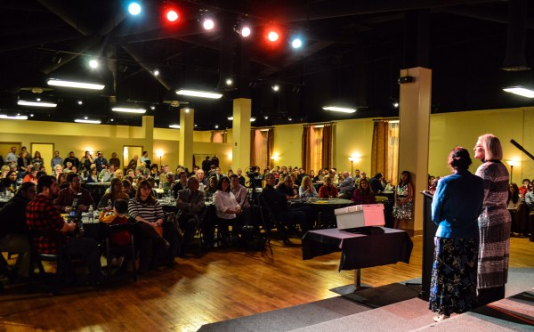 Rita Gupta and Lori Jones from the Wheeling YWCA make their pitch during the most recent event.