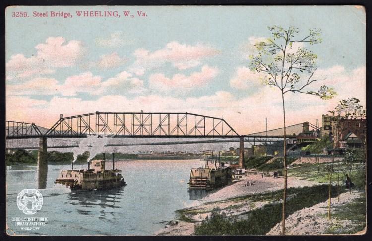 wheeling steel bridge postcard