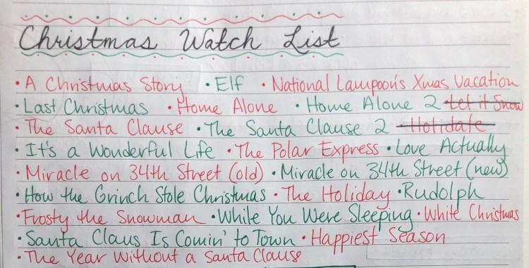 Christmas watch list