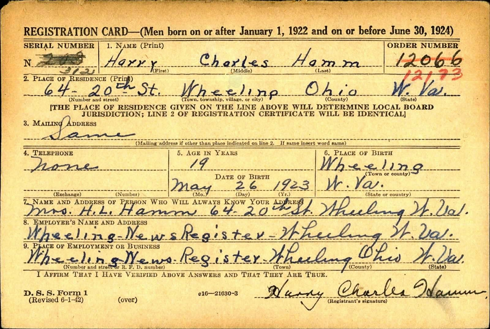 Military registration card for Harry Hamm.