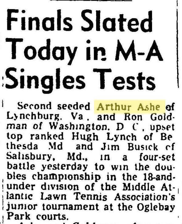 Arthur Ashe in the Wheeling Intelligencer