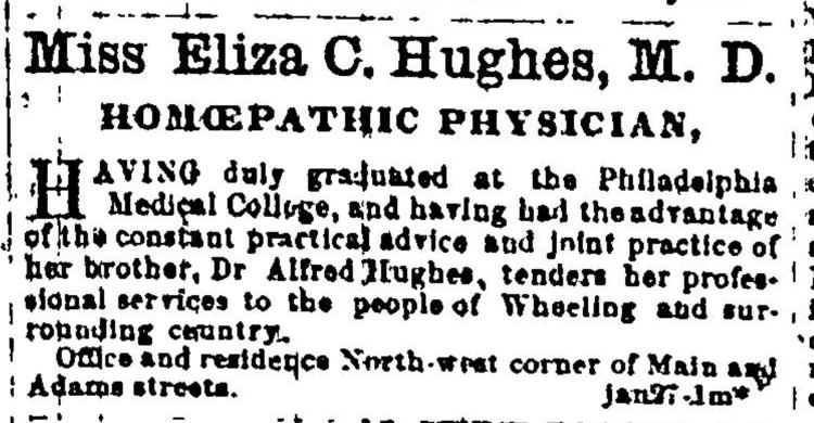 Advertisement in the Daily Intelligencer for Dr. Eliza Hughes