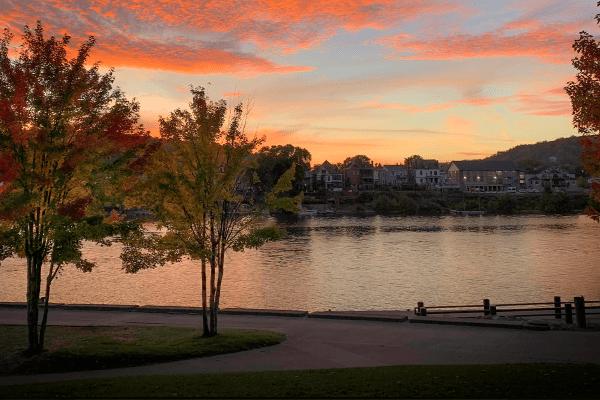wheeling waterfront sunset