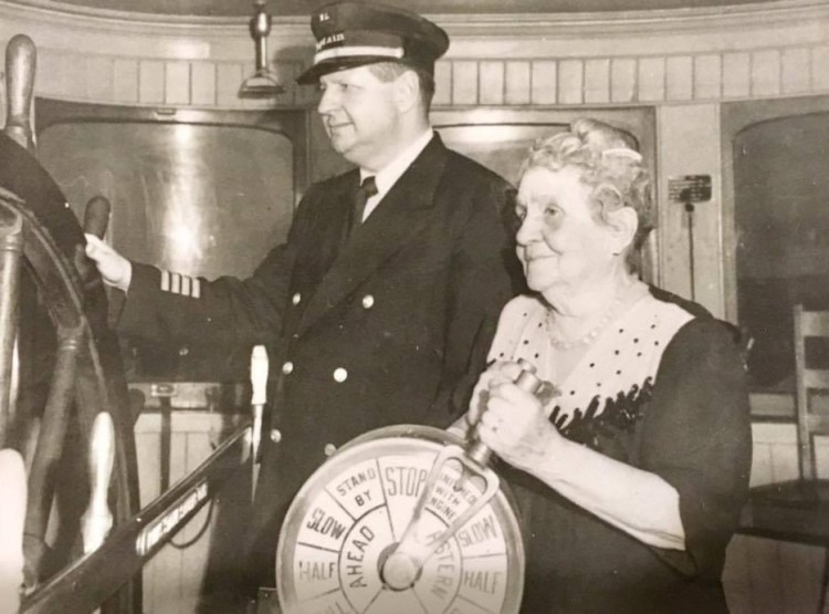 Capt. Tom and Capt. Mary aboard their boat Delta Queen in 1948