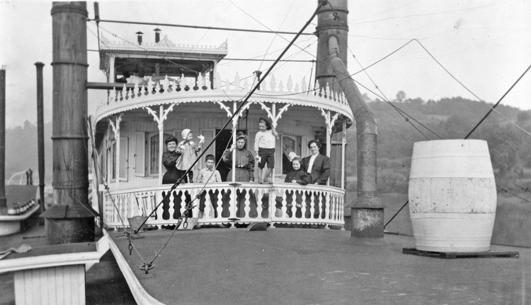 This is the only known photo of the entire Greene family in one setting aboard their steamer Greenland, 1905