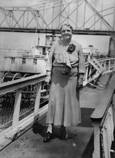 A refined and aging Mary B. Greene posing on the decks of one her steamers while docked