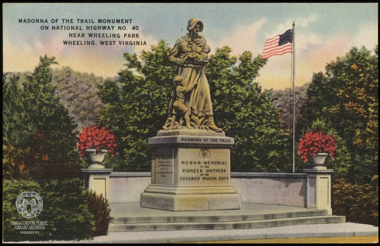 Postcard of the Madonna of the Trail Monument