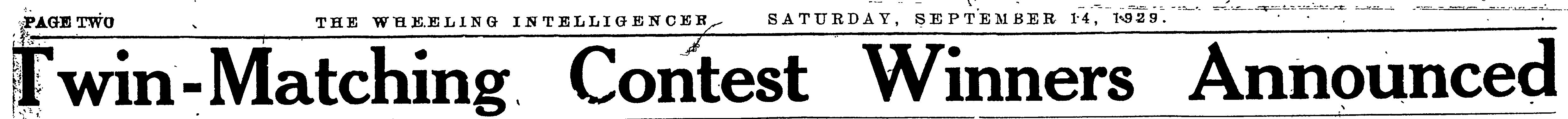 Twin-Matching Contest Headline, 1929