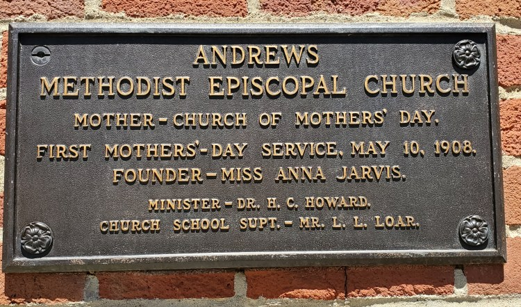Plaque at Andrews Church in Grafton, WV