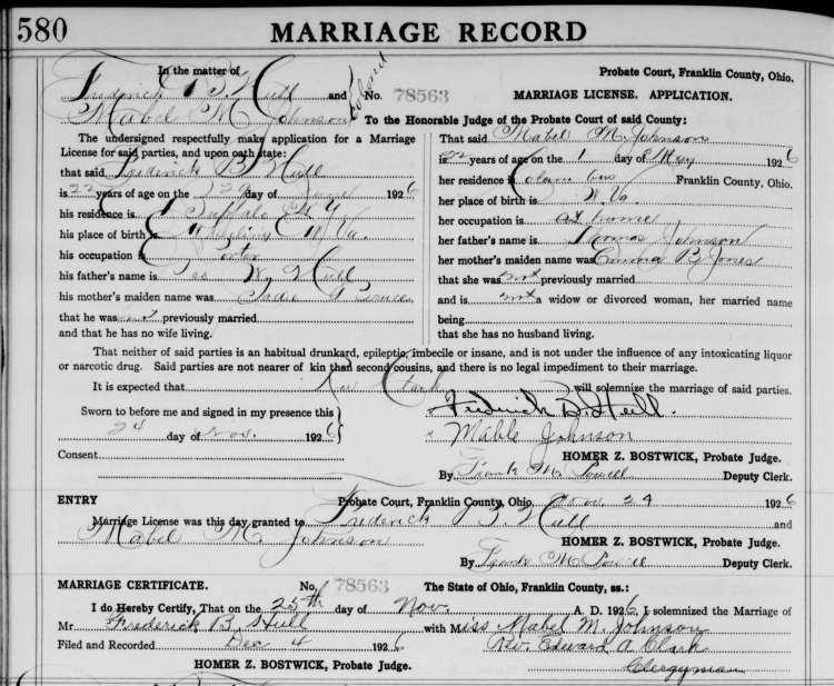Marriage Record of Mabel Johnson and Frederick Hull