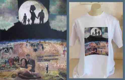 Een foto van schilderij van Fred hebben wij op een t-shirt gezet.