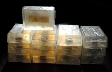 Behold: the finished soaps in all their golden glory. 13 down, 37 to go.