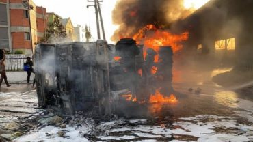 BREAKING!! Bandits Storm Government House, Set Police Van On Fire