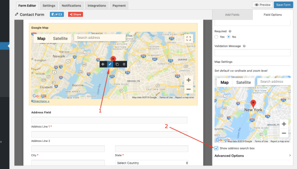 Google Map address field on weForms