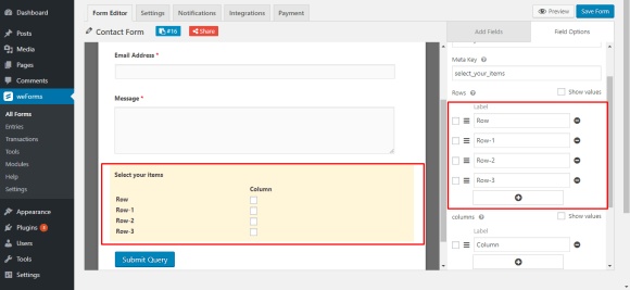 Adding four rows on for checkboxes on form using weForms