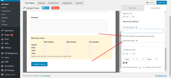 Checkbox field dynamic population on WordPress forms