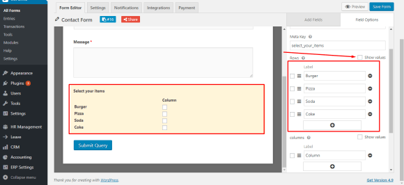 Edit checkbox labels for WordPress contact form using weForms