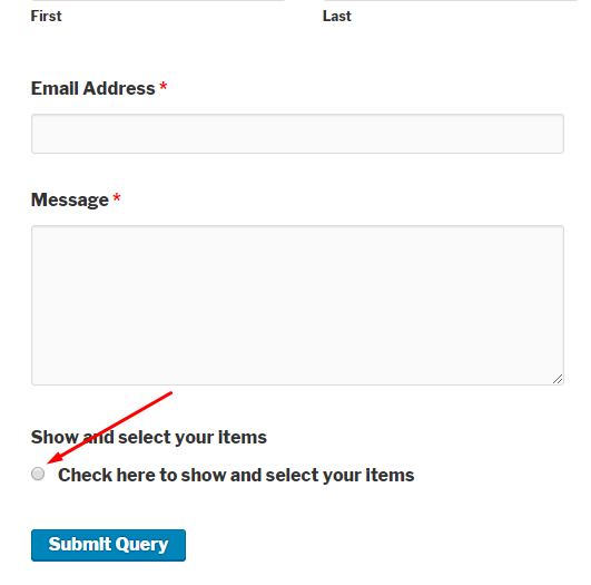 Frontend view of WordPress form with radio button conditional logic
