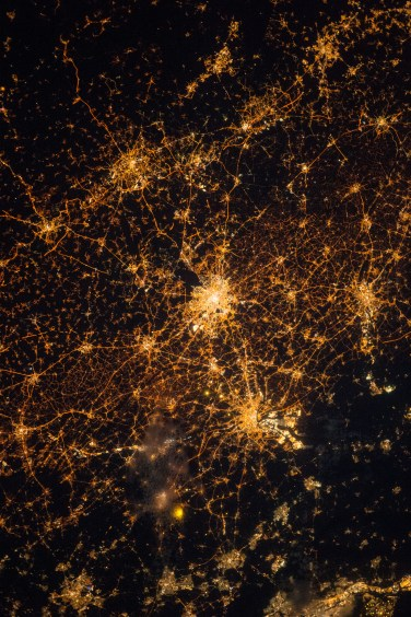 (April 6, 2015) --- City lights during a night pass over northern central Europe taken by Expedition 43 crew member Samantha Cristoforetti.