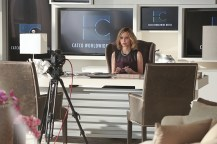 """""""Falling"""" -- Cat (Calista Flockhart, pictured) appears on THE TALK to discuss Supergirl, on SUPERGIRL, Monday, March 14 (8:00-9:00 PM, ET/PT) on the CBS Television Network. Photo: Michael Yarish/CBS ©2016 CBS Broadcasting, Inc. All Rights Reserved"""