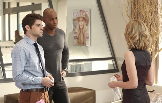 """""""Falling"""" -- Cat appears on THE TALK to discuss Supergirl, on SUPERGIRL, Monday, March 14 (8:00-9:00 PM, ET/PT) on the CBS Television Network. Pictured left to right: Jeremy Jordan, Mehcad Brooks and Calista Flockhart Photo: Michael Yarish/CBS ©2016 CBS Broadcasting, Inc. All Rights Reserved"""