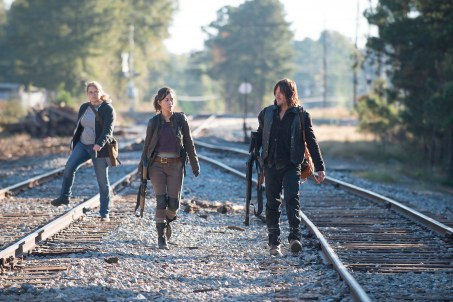 Merritt Wever as Dr. Denise Cloyd, Christian Serratos as Rosita Espinosa, and Norman Reedus as Daryl Dixon - The Walking Dead _ Season 6, Episode 14 - Photo Credit: Gene Page/AMC