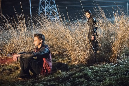 """DC's Legends of Tomorrow -- """"Last Refuge""""-- Image LGN112b_0469b.jpg -- Pictured (L-R): Mitchell Kummen as Young Rory and Faye Kingslee as The Pilgrim -- Photo: Dean Buscher/The CW -- © 2016 The CW Network, LLC. All Rights Reserved."""