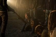 Jeffrey Dean Morgan as Negan, Danai Gurira as Michonne, Norman Reedus as Daryl Dixon, Christian Serratos as Rosita Espinosa, Steven Yeun as Glenn Rhee- The Walking Dead _ Season 7, Episode 1 - Photo Credit: Gene Page/AMC
