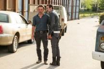 Andrew Lincoln as Rick Grimes, Jeffrey Dean Morgan as Negan, Austin Nichols as Spencer Monroe; group- The Walking Dead _ Season 7, Episode 4 - Photo Credit: Gene Page/AMC