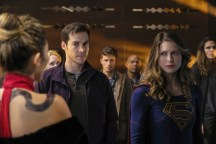 """Supergirl -- """"Supergirl Lives"""" -- Image SPG209b_0078.jpg -- Pictured: (L-R) Dichen Lachman as Roulette, Chris Wood as Mike/Mon-El and Melissa Benoist as Kara/Supergirl -- Photo: Robert Falconer/The CW -- © 2017 The CW Network, LLC. All Rights Reserved"""