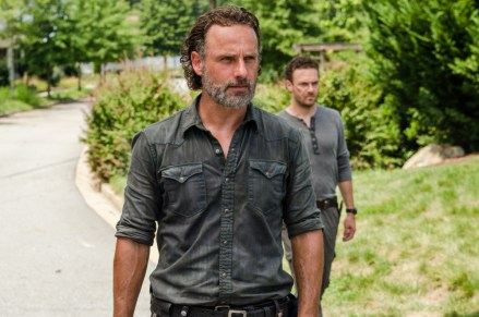 Andrew Lincoln as Rick Grimes, Ross Marquand as Aaron- The Walking Dead _ Season 7, Episode 9 - Photo Credit: Gene Page/AMC