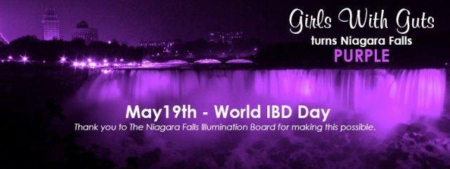 World IBD Day | Girls With Gut's Turns Niagra Falls Purple