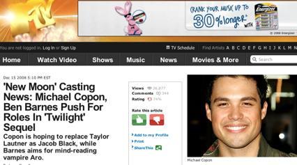 MTV.COM article mentions Michael Copon