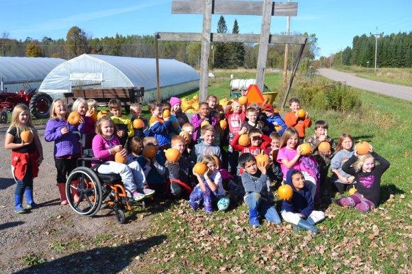 Rib Lake School second graders on a field trip to We Grow this week.