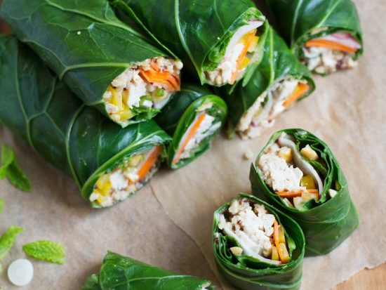 Peanut Chicken Collard Greens Wraps