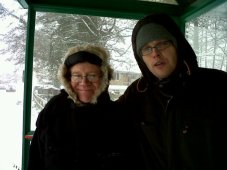 Father-in-law (Viv) and Ramin on a very cold winter's day