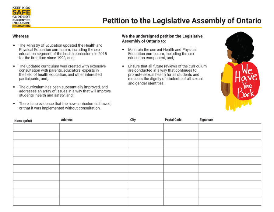 Petition to the Legislative Assembly of Ontario