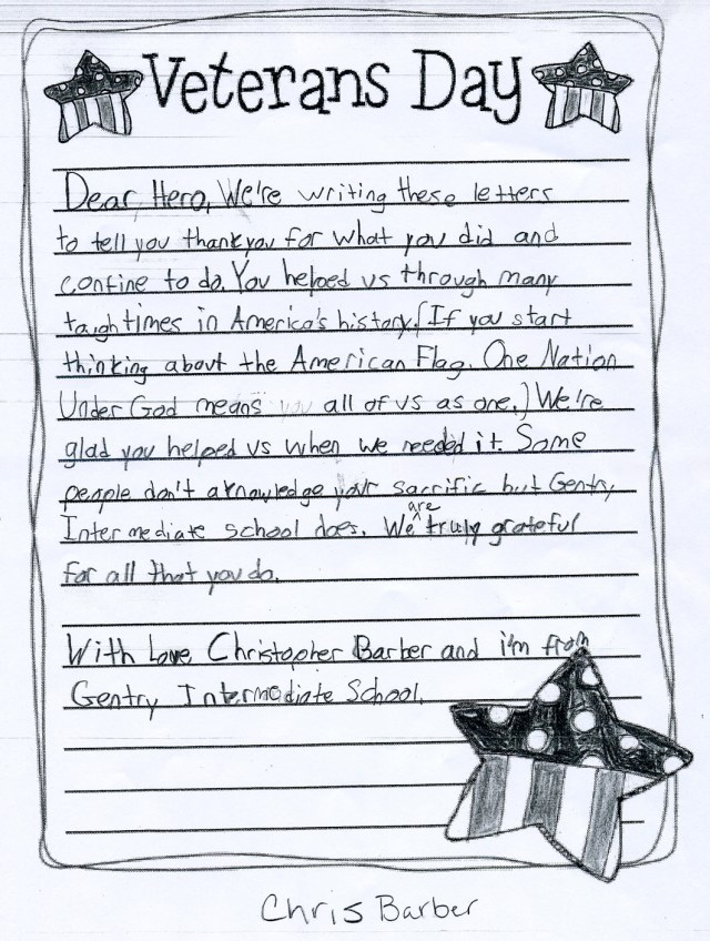 Student letters thank local veterans